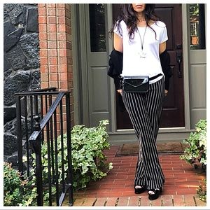 Pants - Black and white striped straight leg pants